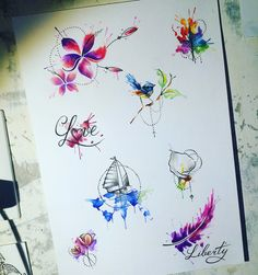 Aquarelle #jdtattoostudio #tattoo #flower #love #bird #ship #птица #дерево #tree #кораблик #эскиз #акварель #watercolor #aquarelle #sketch #jd #тату #татуировка