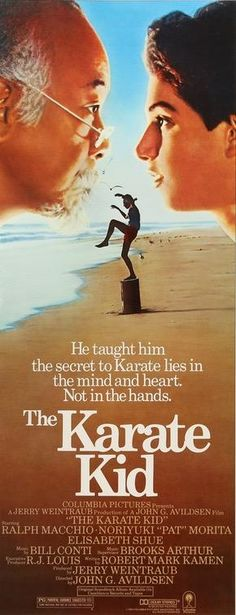 An original, unfolded, insert theatrical movie poster x from 1984 for The Karate Kid with Ralph Macchio and Pat Morita. The Karate Kid 1984, Karate Kid Movie, Karate Kid Cobra Kai, Jojo Movies, We Movie, 80s Movies, William Zabka, Cobra Kai Dojo, Movies