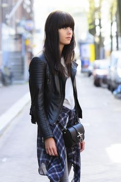 ☆ Rock 'n' Roll Style ☆  Snapped by Sydneyfrancisco.com I love that black leather jacker, but I wouldn't know how to pull it off with the plaid shit she's got tied around