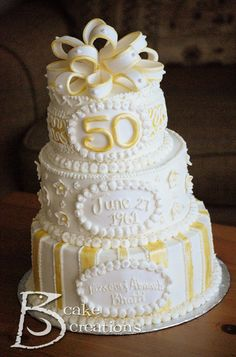 Jaybird Creations: Cake Decorating - Golden 50th Wedding Anniversary Cake