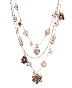 Betsey Johnson Necklace, Pink Crystal Illusion - Fashion Jewelry - Jewelry & Watches - Macy's