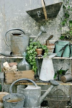 vintage gardening objects with watering can, a neglected corner.  Repinned by www.silver-and-grey.com