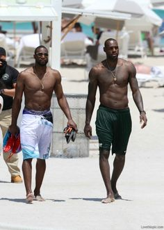 Lebron James and dwyane wade beach basketball nba shirtless lebron james dwyane wade nba finals king james.i think d wade looks better.