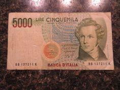 5000 Lire Cinquemila 1985 Banca D'Italia Bank Note