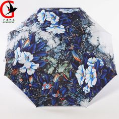 Blue Demon flower Sunscreen umbrella three fold anti-ultraviolet Sunny and Rainy umbrella Artistic Painting Umbrellas Gift TQ-31 #Affiliate