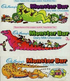 Three Cadbury's Monster Bar wrappers from the Old Sweets, Vintage Sweets, Retro Sweets, Vintage Candy, 1970s Childhood, My Childhood Memories, Dairy Milk Chocolate, Chocolate Bars, British Candy