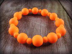Orange Stretch Bracelet Glass Beads Beaded Bracelet Jewelry Handmade Beads Bead Rubber Coated Glass Beads Chunky Beads Neon Beaded #etsymntt #forsale