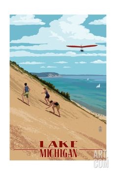 Michigan - Dunes Art Print by Lantern Press at Art.com