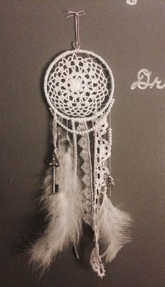 DIY Dream Catcher. Made with wire ring, and cloth doily from Michaels. Decorated with assorted feathers, beads, ribbon, and pearls.