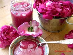 Romanian Sherbet(Sharbat) - a traditional ottoman dessert prepared from fruits or flower petals, very popular in Romania.It is served in concentrate form and eaten with a spoon or diluted with water to create the drink. Chutneys, Romanian Food, Great Recipes, Cookie Recipes, Deco, Nom Nom, Vegetarian, Sweets, Homemade