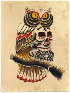 ➳➳➳☮American Hippie Art - Owl Skull