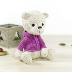 Teddy bear in a hoodie amigurumi pattern by Kristi Tullus