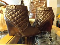 New Tory Burch Brown Leila Quilted Leather Ankle Wedges Boots Booties 7 NWOB #ToryBurch #Booties #WeartoWork