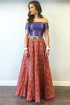 Brocade off-the-shoulder mirror embroidered blouse and skirt.This style can be made in solid colors as well! Skirt patterns may vary