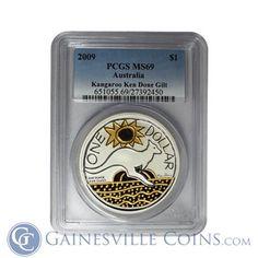 2009 1 oz Australian Silver Kangaroo - Ken Done Gold Gilded http://www.gainesvillecoins.com/