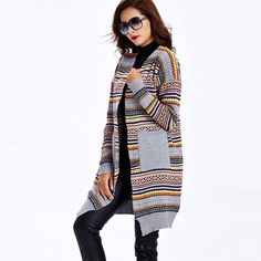 Sisjuly fashion knitted sweaters for women long style cardigans winter knitted cardigans long sleeve striped women sweater