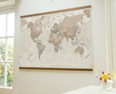 Classic world map home decor living room bedroom wall art ive just found antique map of the world wall hanging maps internationals world antique styled wall map with wooden hanging bars 5440 gumiabroncs Image collections