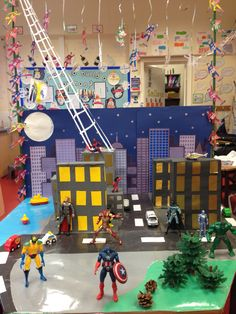 Superhero Play - Children Can Make Buildings and Then Add to Play
