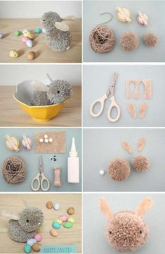 How to instructions random step by step diy picture tutorial instructions for making things part 106 by mylittlecorneroftheworld I did that as a kid every easter! :) How to make lovely fabric ball bunny step by step DIY instructions How to make lovely fab Kids Crafts, Diy And Crafts Sewing, Crafts For Teens, Easter Crafts, Pom Pom Crafts, Yarn Crafts, Fabric Balls, Diy Y Manualidades, Cool Art Projects