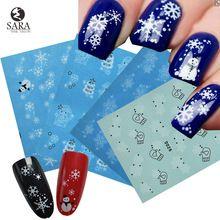 Sara Nail Salon 1 PCS Flocos De Neve de Natal Estilo Decalques de Água Nail Art Etiqueta Dicas Manicure DIY X'mas Adesivos NJ185 alishoppbrasil