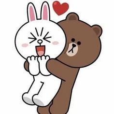 Cute Couple Cartoon, Cute Love Cartoons, Cute Love Gif, Cute Love Pictures, Naughty Emoji, Cony Brown, Cute Bear Drawings, Chibi Cat, Romantic Gif