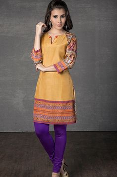 Cotton silk kurti with digital print