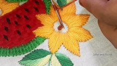 Hand embroidery beautiful design for cushion cover design with water mel... Water Melon, Cushion Cover Designs, Color Of Life, Hand Embroidery, Cushions, Stitch, Holiday Decor, Youtube, Flowers
