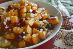 This dish featured in the Thanksgiving issue of the Diner News. I love it.   The squash is sweet and creamy, but the cranberries. They sur...