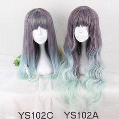 Sweet Harajuku Original Medium Straight Cyan And Grey Mixed Lolita Wigs YS102AC
