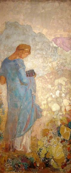 Odilon Redon ~ Pandora. Surrounded by beauty and there she stands, contemplating the box and what it may hold.......