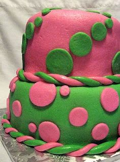Pink And Green Polka Dot Birthday Cake Delivery To Gettysburg PA