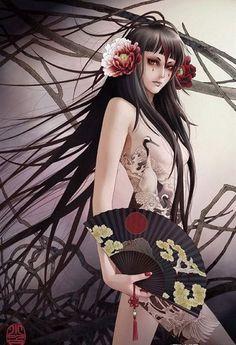 Zhang Xiao Bai.  Pretty tattoo woman with fan.