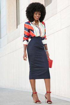 Scarf Print Shirt + Pencil Midi Skirt