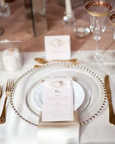 Another perfect place setting captured by @rachaelconnerton recently featuring our gold beaded charger plates, luxury napkins, gold cutlery, gold rimmed glassware & more!  Stationery from @imagineinviteandevents ❤️ #weddinginspiration #weddinginspo #