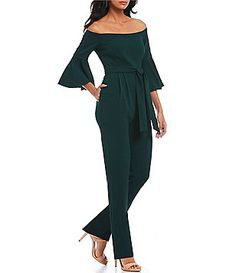 be38c9785e3 Eliza J Off-the-Shoulder Tie Waist Bell Sleeve Jumpsuit Jumpsuit With  Sleeves