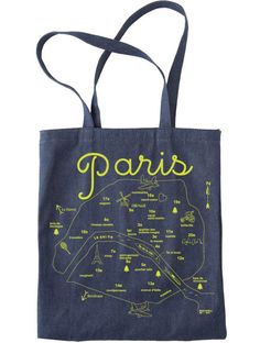 This durable and stylish denim tote bag wears well over time and has a handy inside pocket. Makes for a unique and practical souvenir featuring a map of Paris, France. Bordeaux, Modern Kids Furniture, Denim Tote Bags, Paris Map, Closet Accessories, Paris Party, Textiles, Welcome Bags, Ootd