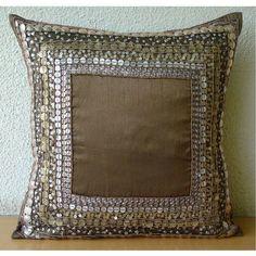 "3D Sequins Antique 16""X16"" Art Silk Brown Pillows Cover - Ethnic Origins"