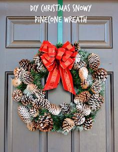 DIY Christmas Snowy Pinecone Wreath Craft