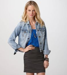 AE Black and White Striped Bodycon Skirt