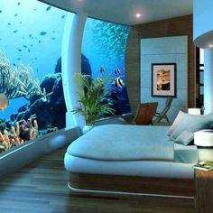 Hotel room under water