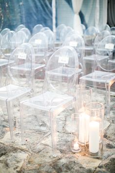 Candlelight and Ghost Chair Ceremony Seating | Austin Wedding at The Allen House | Planning, Design, and Florals by The Nouveau Romantics | Photography by Taylor Lord