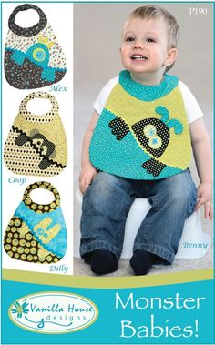 Monster Babies Bib Pattern! Just Adorable! Great Gift for Baby!