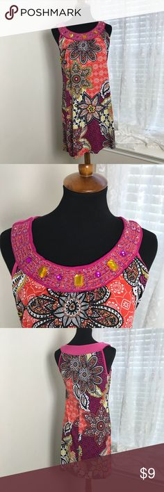 Boho print knit sundress sz M hot pink yellow black boho print sundress bejeweled neck  Picture show Measurements  Sz M Dresses Midi