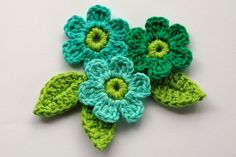 Crochet Flowers in Mint and Lime Green. $4.20, via Etsy.
