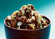 Gingery Quinoa Salad with Apples, Peas, and Coconut
