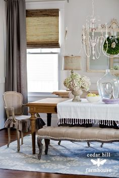 Dining room decor ideas - transitional, country, farm style with bench and chandelier.