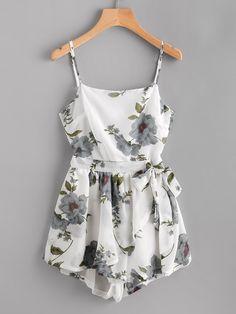 #AdoreWe #ROMWE ROMWE Floral Print Random Knot Open Back Cami Romper - AdoreWe.com