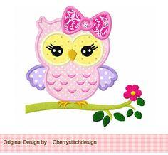 Niedliche girly Eule auf einer Extremität, Eule Mädchen, Eule mit Blume Digital applique - für 4 x 4 5 x 7 6 x 10 Reifen-Maschine Stickerei Applique Design