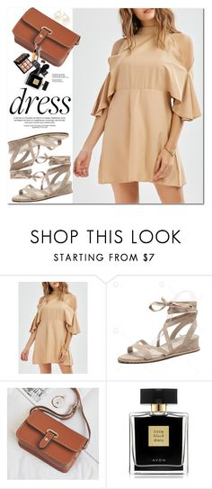 """""""Mock Neck Mini Cold Shoulder Dress"""" by oshint ❤ liked on Polyvore featuring Avon and Ippolita"""