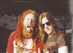 Tomas Lindberg (At The Gates) left, with Jon Nödtveidt (Dissection) right